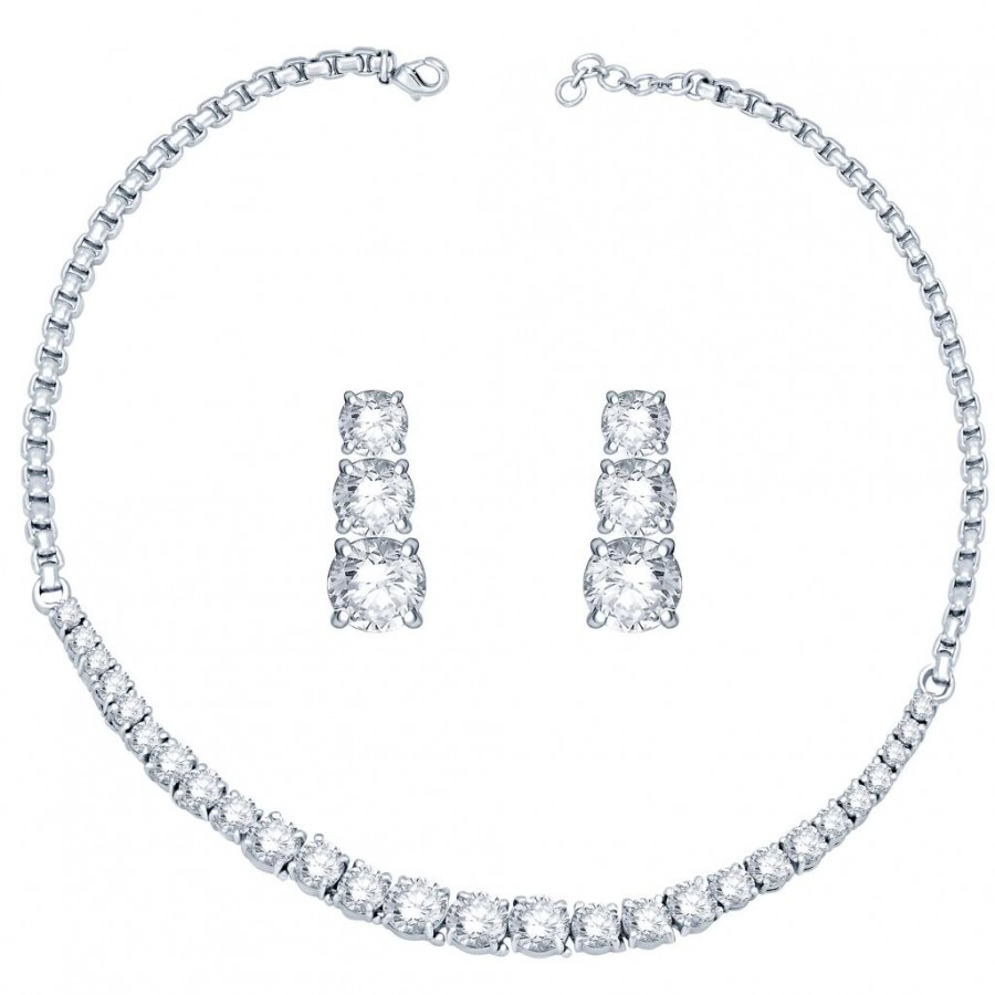 Buy Pissara Rhodium Plated CZ Single string Solitaires Necklace Set - 1167VN6500 Online