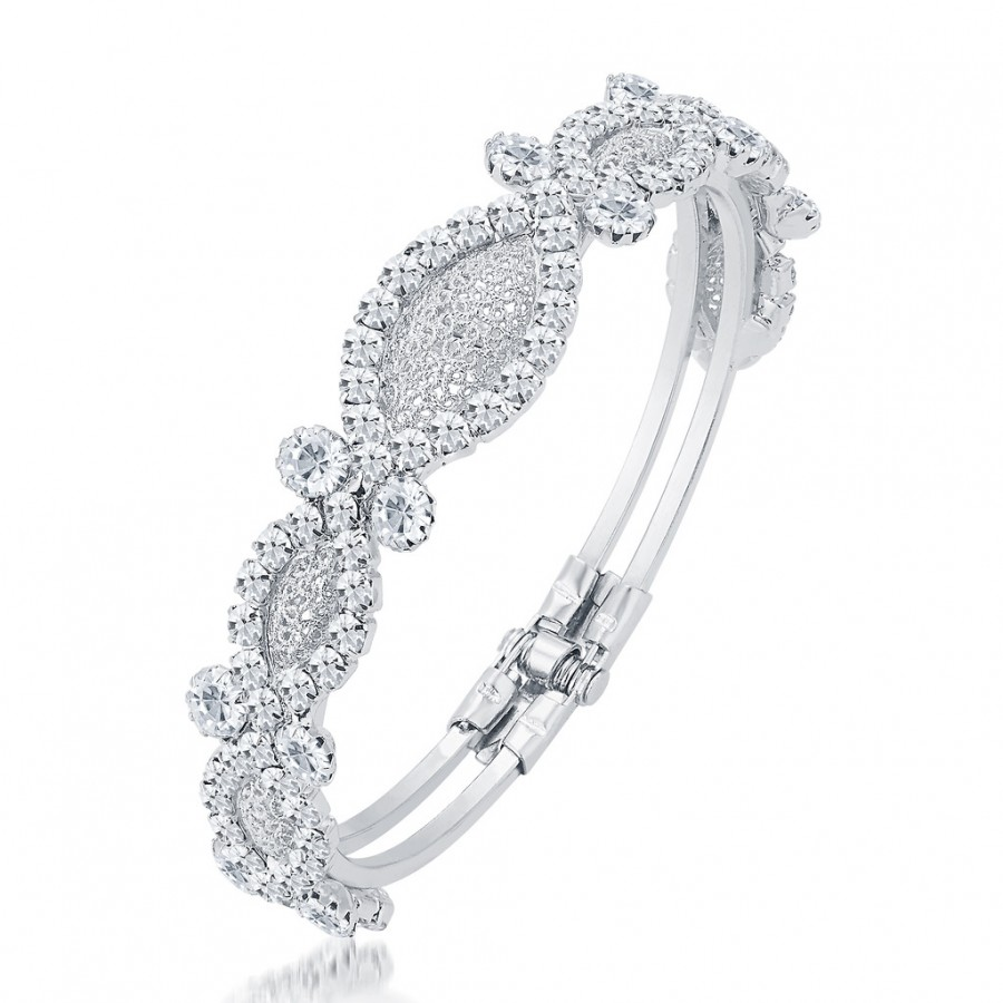 Buy Sukkhi Graceful Rhodium Plated AD Kada For Women Online