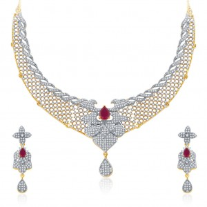 Buy Pissara Harmonious Gold And Rhodium Plated Ruby CZ Neklace Set For Women Online