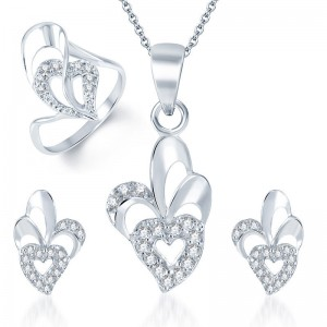 Buy Pissara Sleek Rhodium Plated CZ Pandent Set and Ring Combo Online