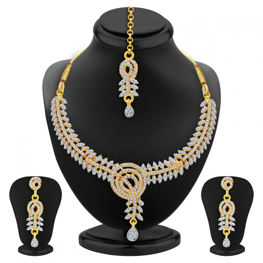 Buy Sukkhi Resplendent Gold & Rhodium Plated AD Necklace Set For Women Online