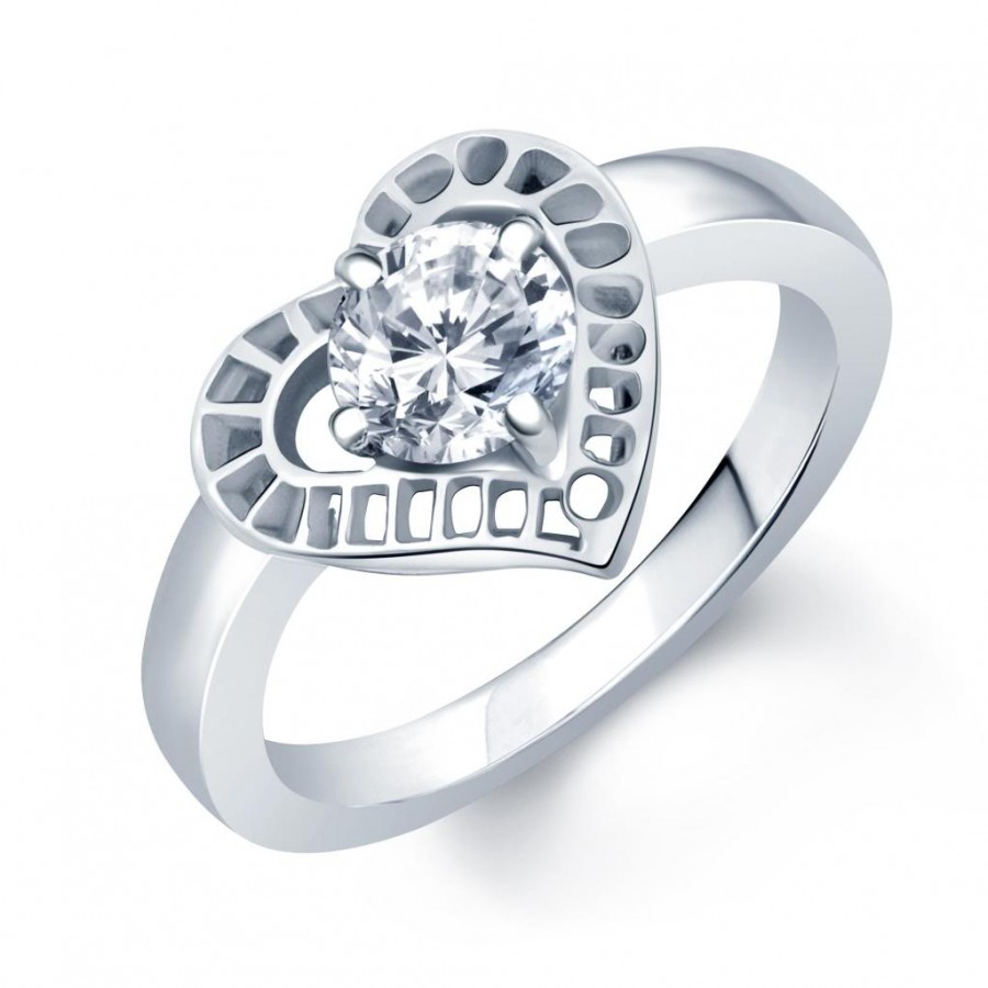 Buy Pissara Pretty Rhodium Plated Solitaire CZ Ring Online