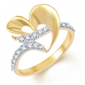 Buy Pissara Attractive Gold and Rhodium Plated CZ Ring Online
