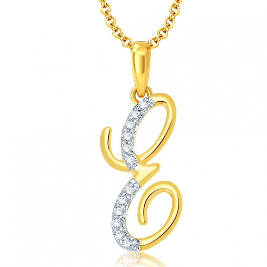 "Buy Pissara Letter"" E"" Gold and Rhodium Plated CZ Alphabet Pendant Online"