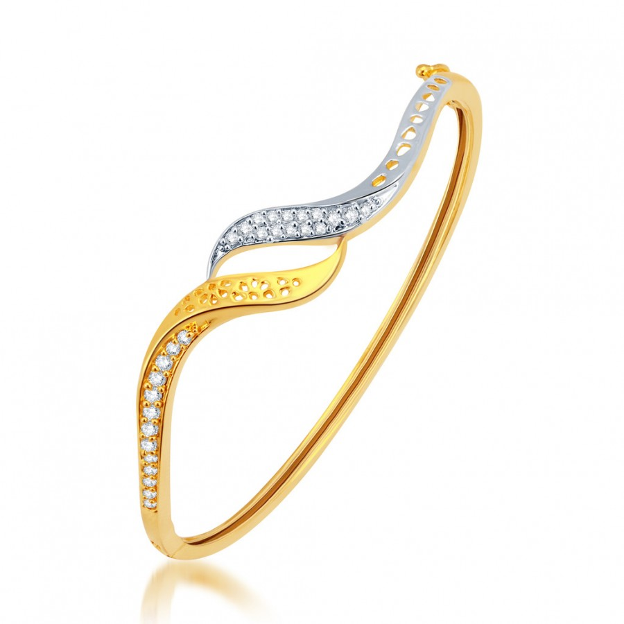 Buy Pissara Artistically Gold and Rhodium Plated CZ Kada Online