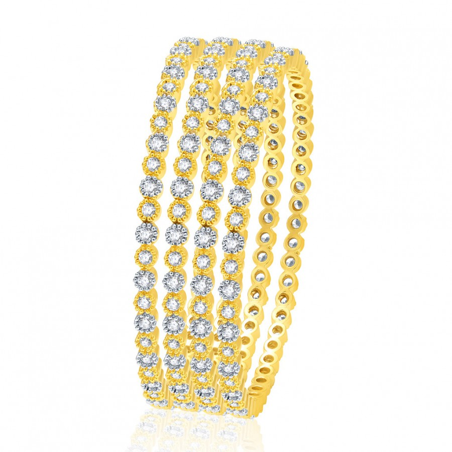 Buy Pissara Exceptional Gold And Rhodium Plated CZ Bangles For Women Online