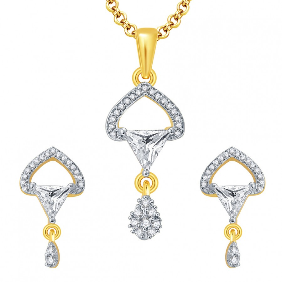Buy Pissara Passionate Gold And Rhodium Plated CZ Pendant Set For Women Online