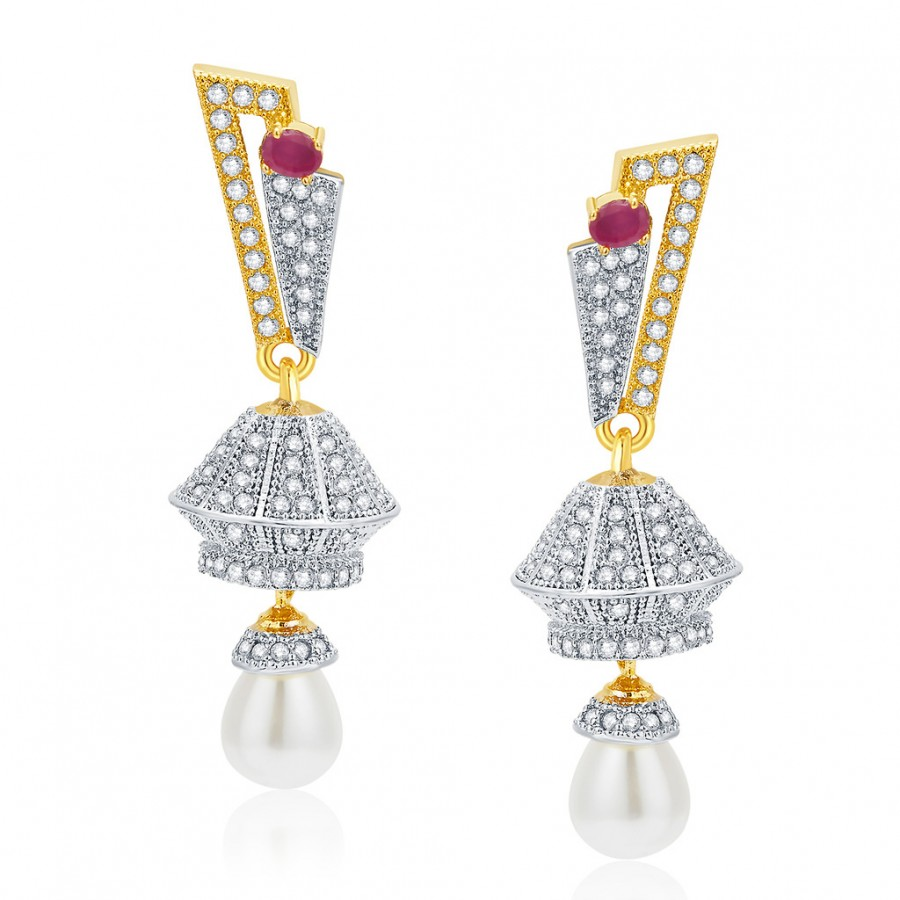 Buy Pissara Preppy Gold And Rhodium Plated Ruby CZ Earrings For Women Online
