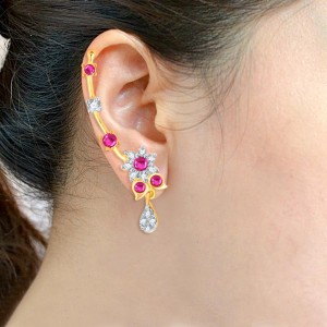 Buy Pissara Stunning Gold and Rhodium Plated Cubic Zirconia and Ruby Stone Studded Ear cuff Online