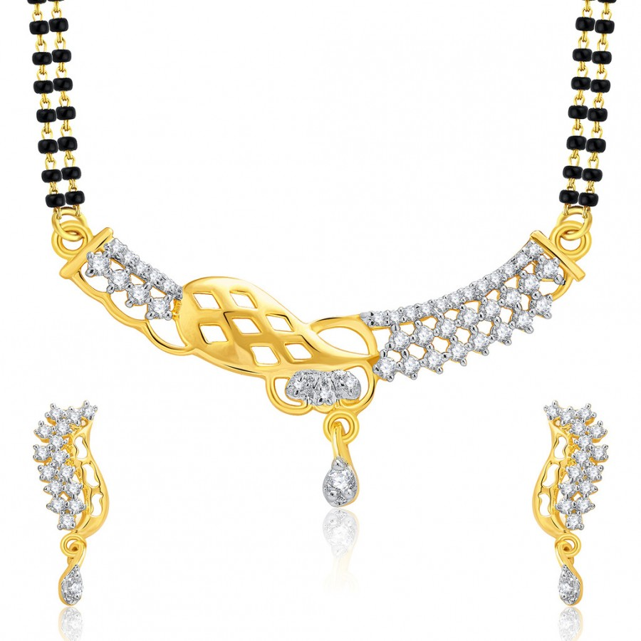 Buy Pissara Gracious Gold And Rhodium Plated CZ Mangalasutra Set For Women Online