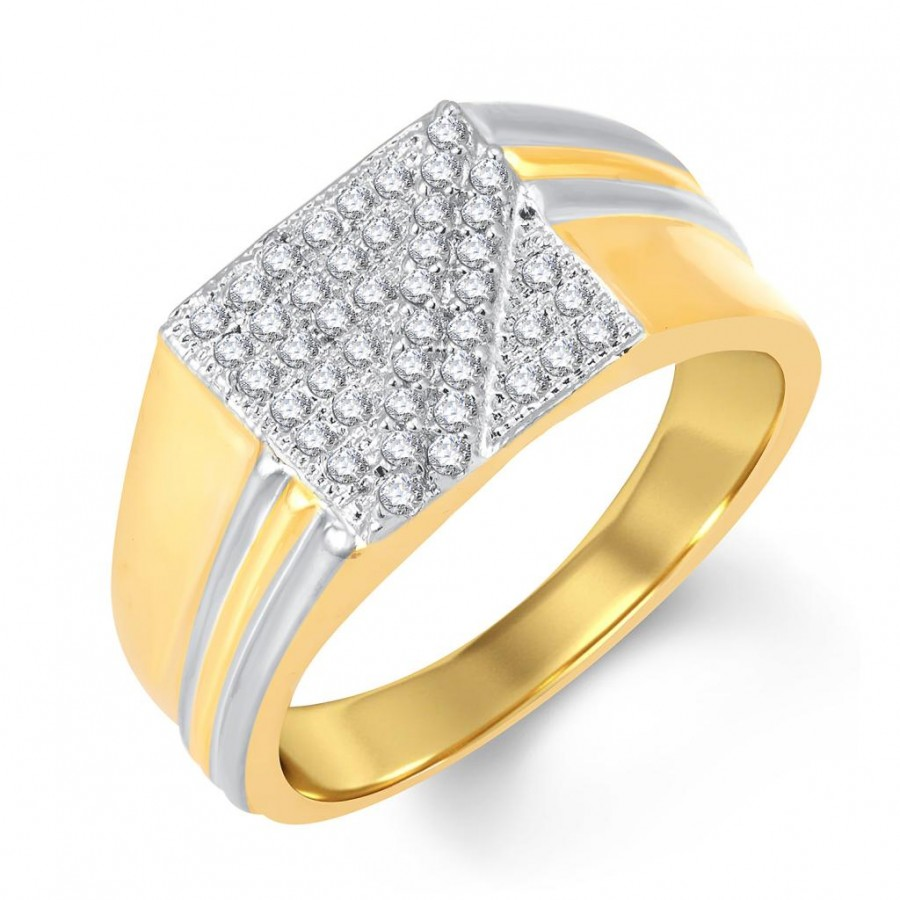 Buy Pissara Beguiling Gold and Rhodium Plated Cubic Zirconia Ring For Men Online