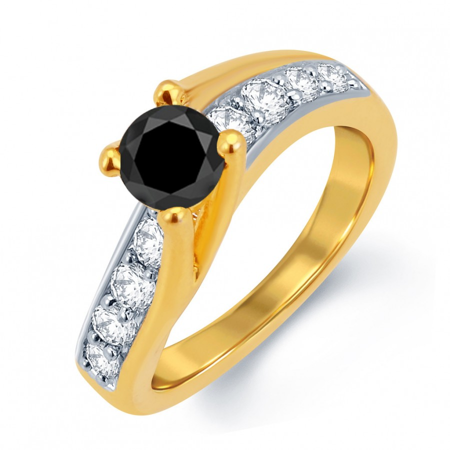 Buy Pissara Glamorous Gold and Rhodium Plated Black Solitaire CZ Ring Online