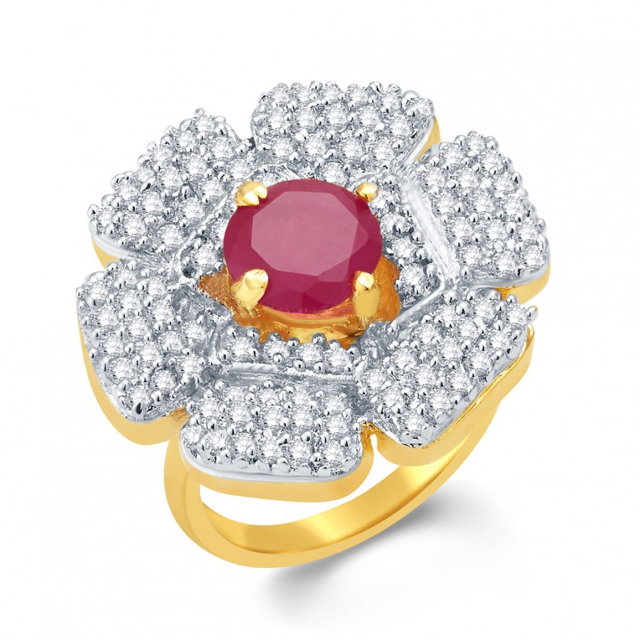 Buy Pissara Mystifying Gold And Rhodium Plated Ruby CZ Ring For Women Online