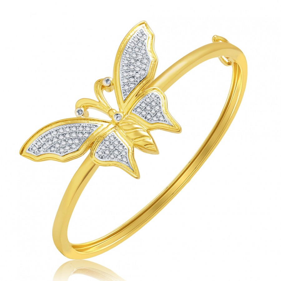 Buy Pissara Butterfly Gold And Rhodium Plated CZ Kada For Women Online
