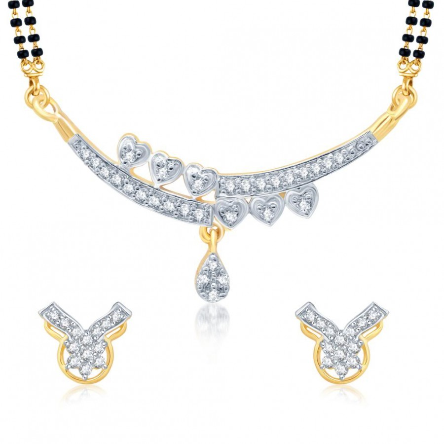 Buy Pissara Modern Gold and Rhodium Plated Cubic Zirconia Stone Studded Mangalsutra Set Online