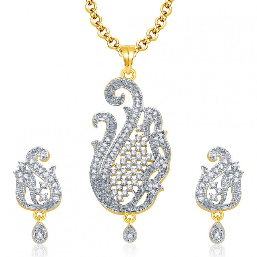 Buy Pissara Gaiety Gold And Rhodium Plated CZ Pendant Set For Women Online