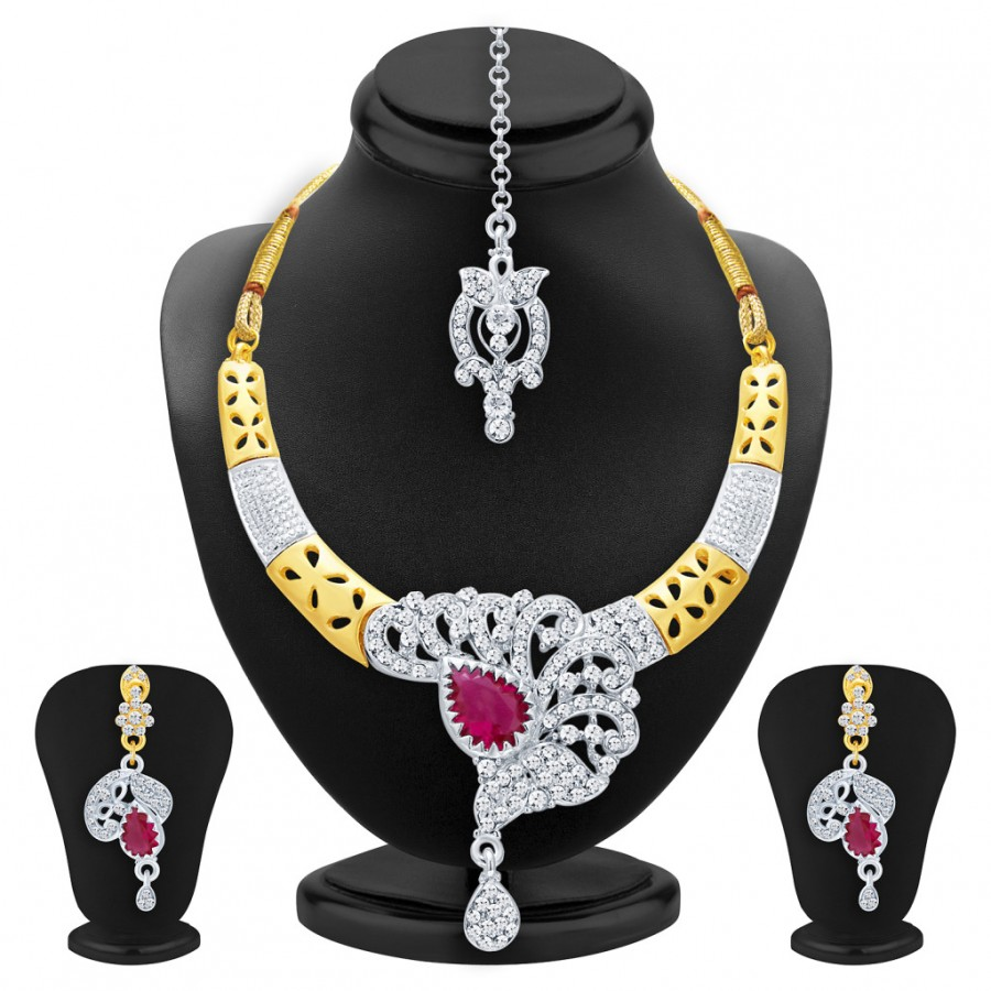 Buy Sukkhi Delightful Gold & Rhodium Plated AD Necklace Set with Set of 5 Changeable Stone For Women Online