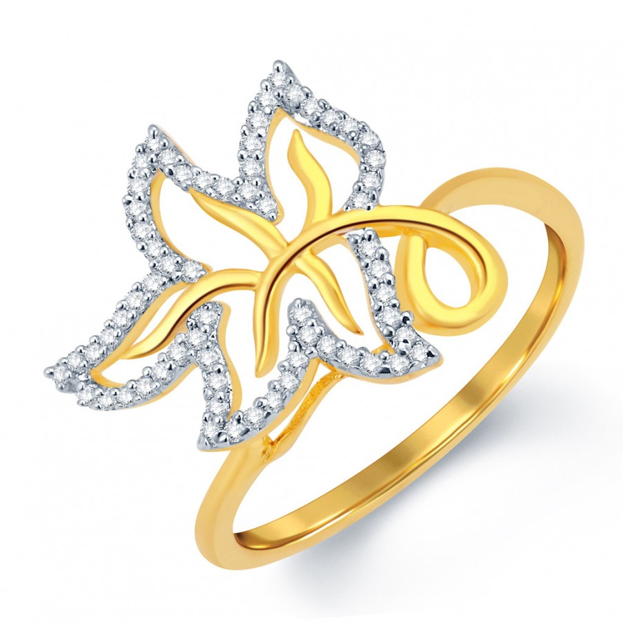 Buy Pissara Leafy Gold and Rhodium Plated CZ Ring Online