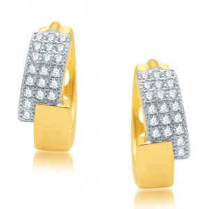 Buy Pissara Luxurious Gold and Rhodium Plated Micro Pave CZ Earrings Online