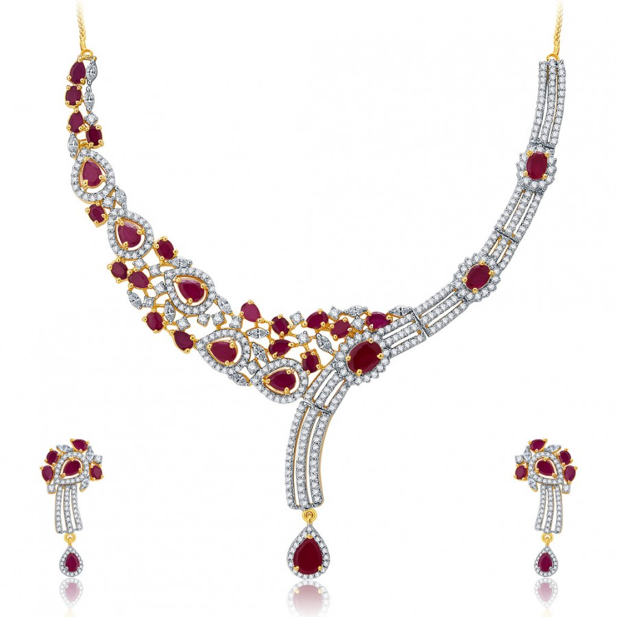 Buy Pissara Mesmerizing Gold And Rhodium Plated Ruby CZ Neklace Set For Women Online