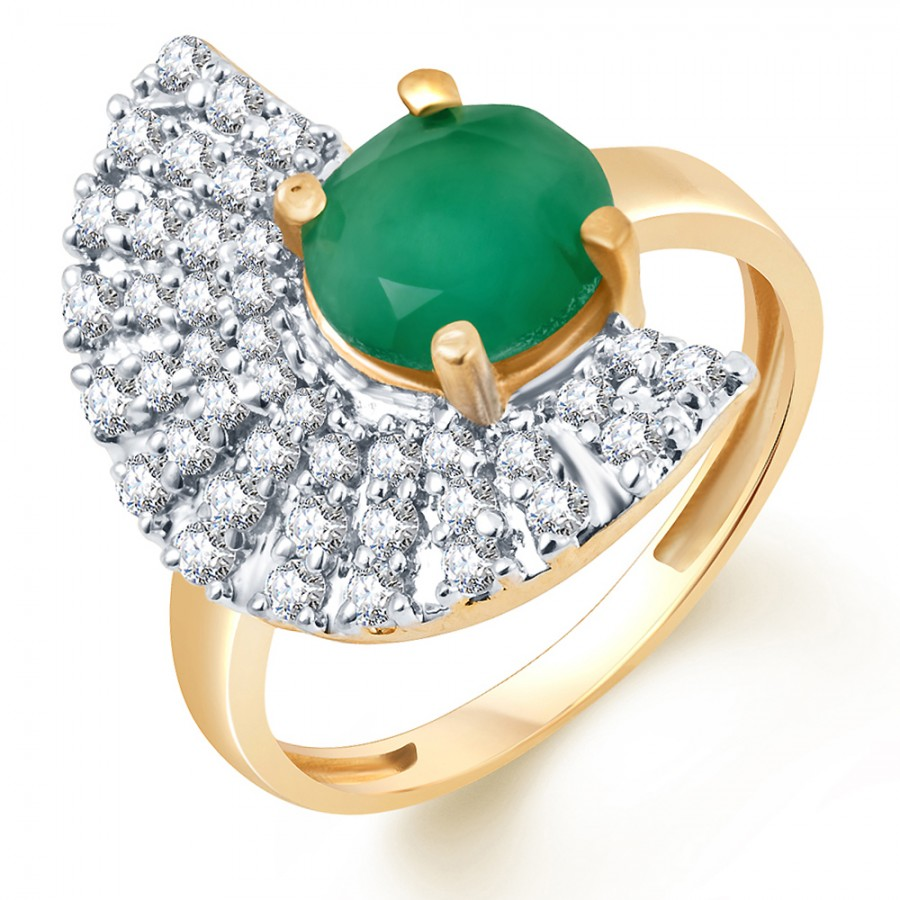 Buy Pissara Stylish Two Tone CZ Emerald Ring Online