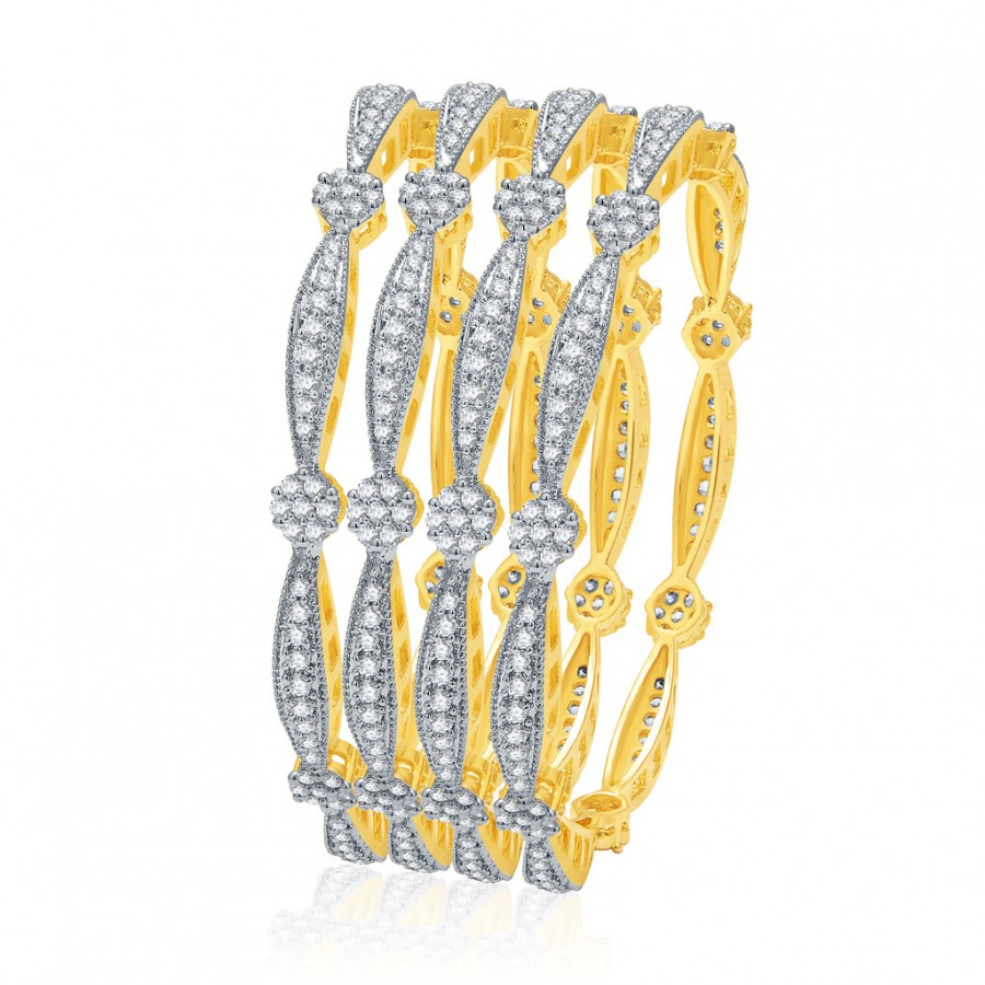 Buy Pissara Winsome Gold And Rhodium Plated CZ Bangles For Women Online
