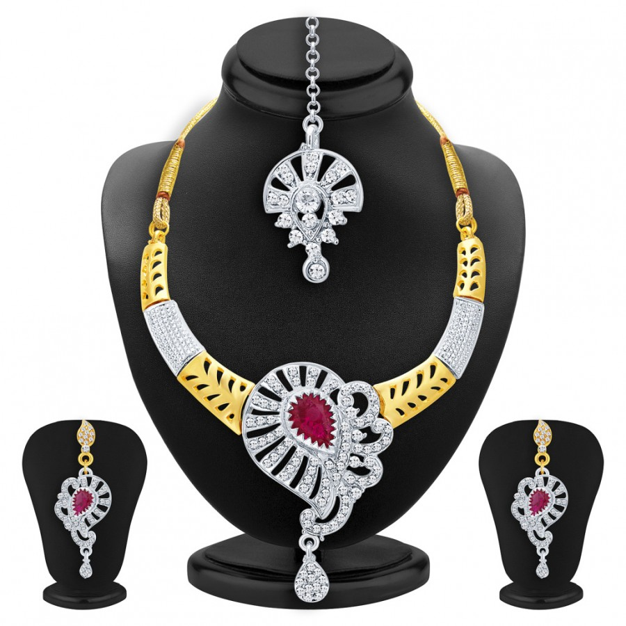 Buy Sukkhi Artistically Gold & Rhodium Plated AD Necklace Set with Set of 5 Changeable Stone For Women Online