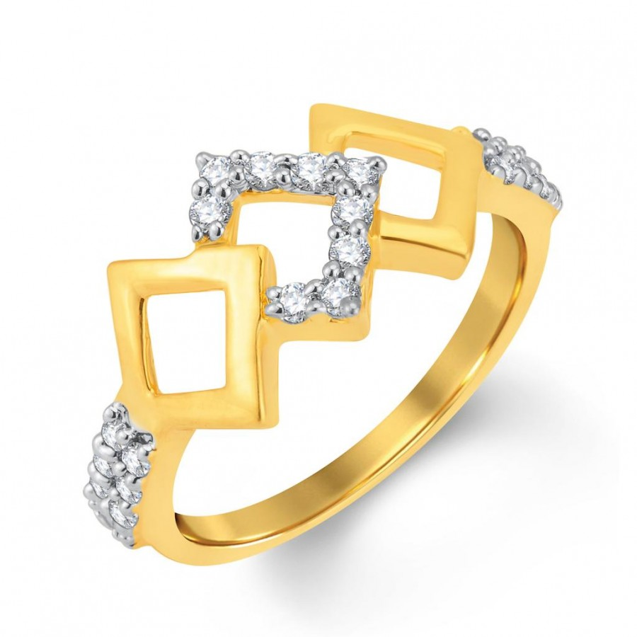 Buy Pissara Designer Gold and Rhodium Plated Cubic Zirconia Ring Online