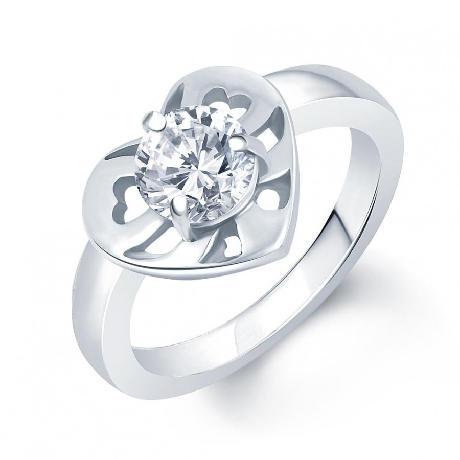 Buy Pissara Blossomy Rhodium Plated Solitaire CZ Ring Online