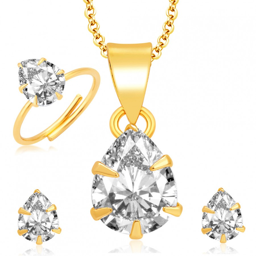 Buy Pissara Brilliant Pecock Gold and Rhodium Plated CZ Pendant Set - Ring Combo For Women Online