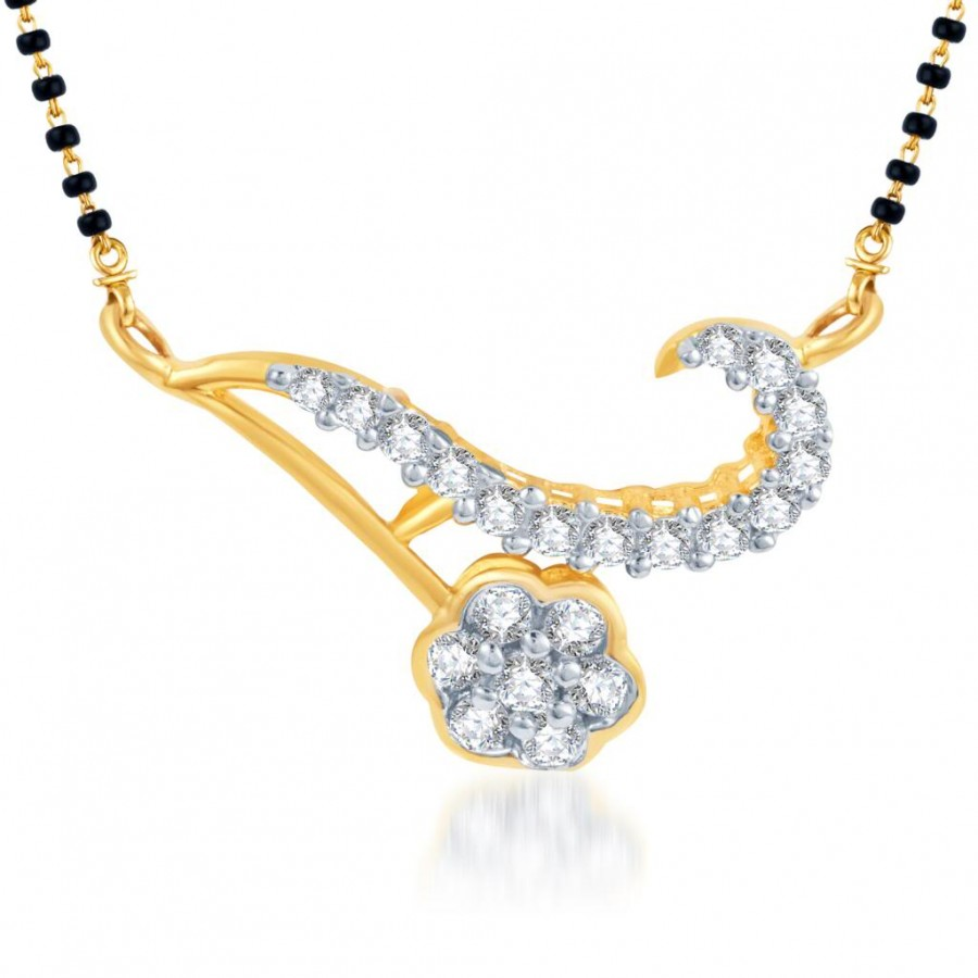 Buy Pissara Delightly Crafted CZ Gold and Rhodium Plated Mangalsutra Pendant Online