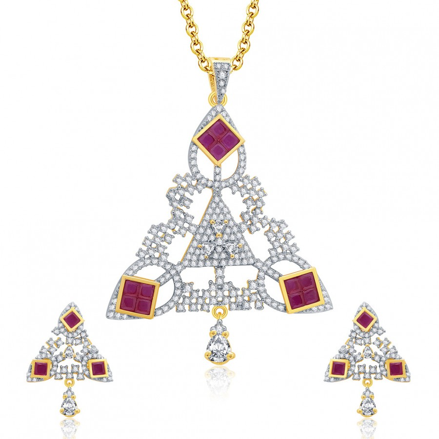 Buy Pissara Burished Gold And Rhodium Plated Ruby CZ Pendant Set For Women Online