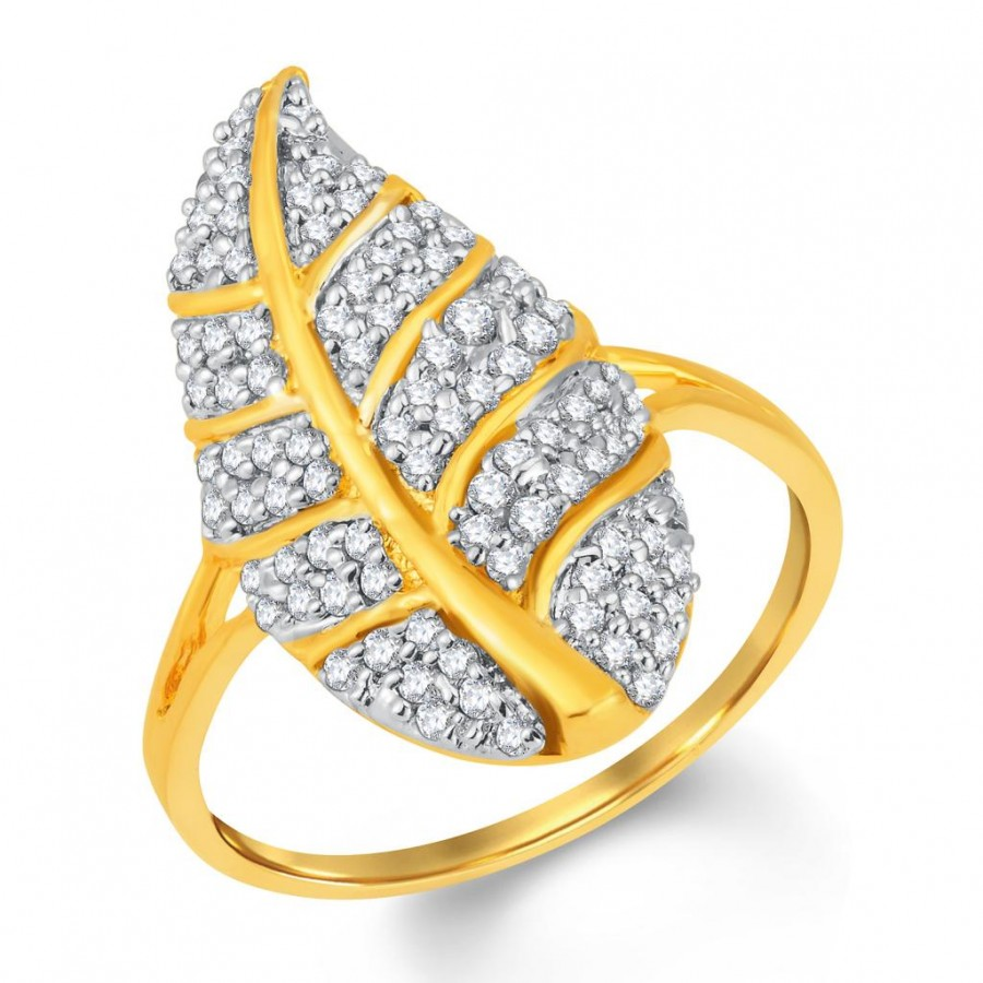 Buy Pissara Angelic Gold and Rhodium Plated Cubic Zirconia Ring Online