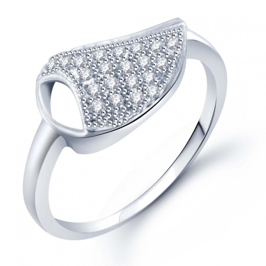 Buy Pissara Modern Micro Pave Setting Rhodium Plated CZ Ring for Women(329R490) Online
