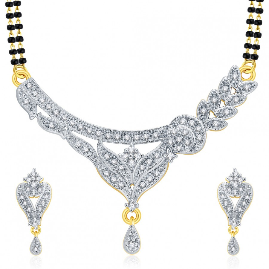 Buy Pissara Sublime Gold And Rhodium Plated CZ Mangalasutra Set For Women Online