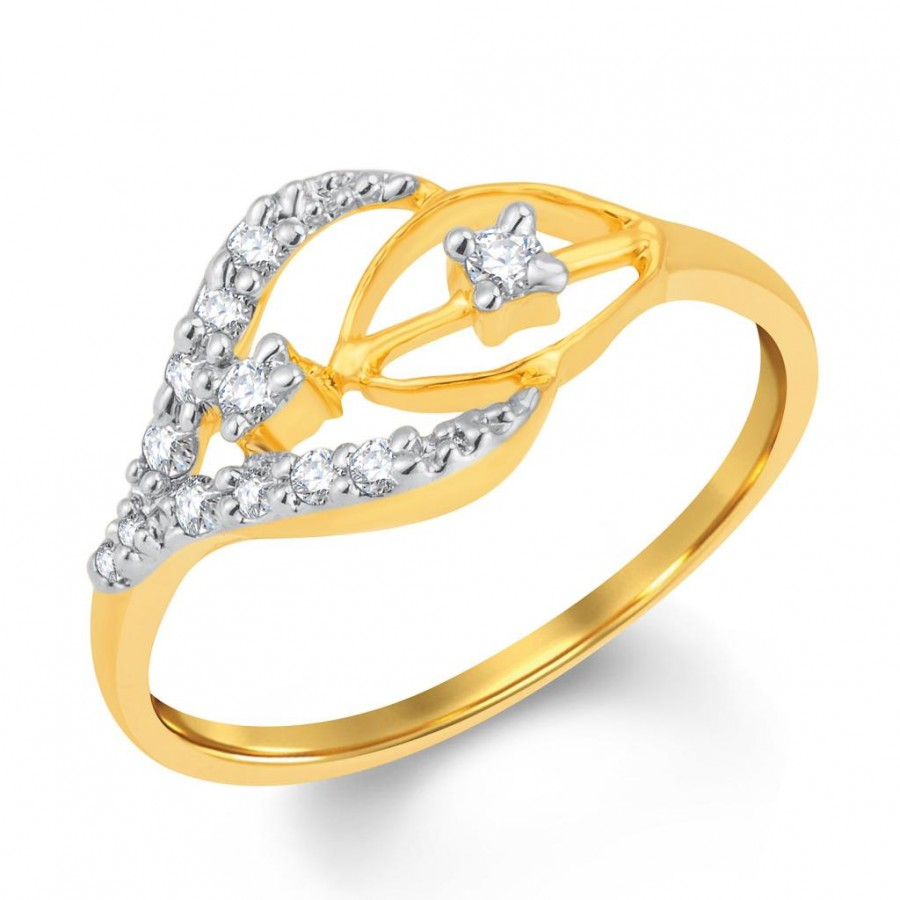 Buy Pissara Wavy Gold and Rhodium Plated Cubic Zirconia Ring Online