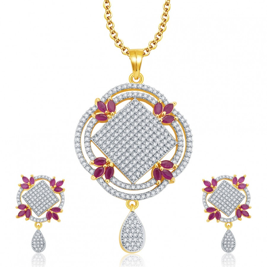 Buy Pissara Lovely Gold And Rhodium Plated Ruby CZ Pendant Set For Women Online