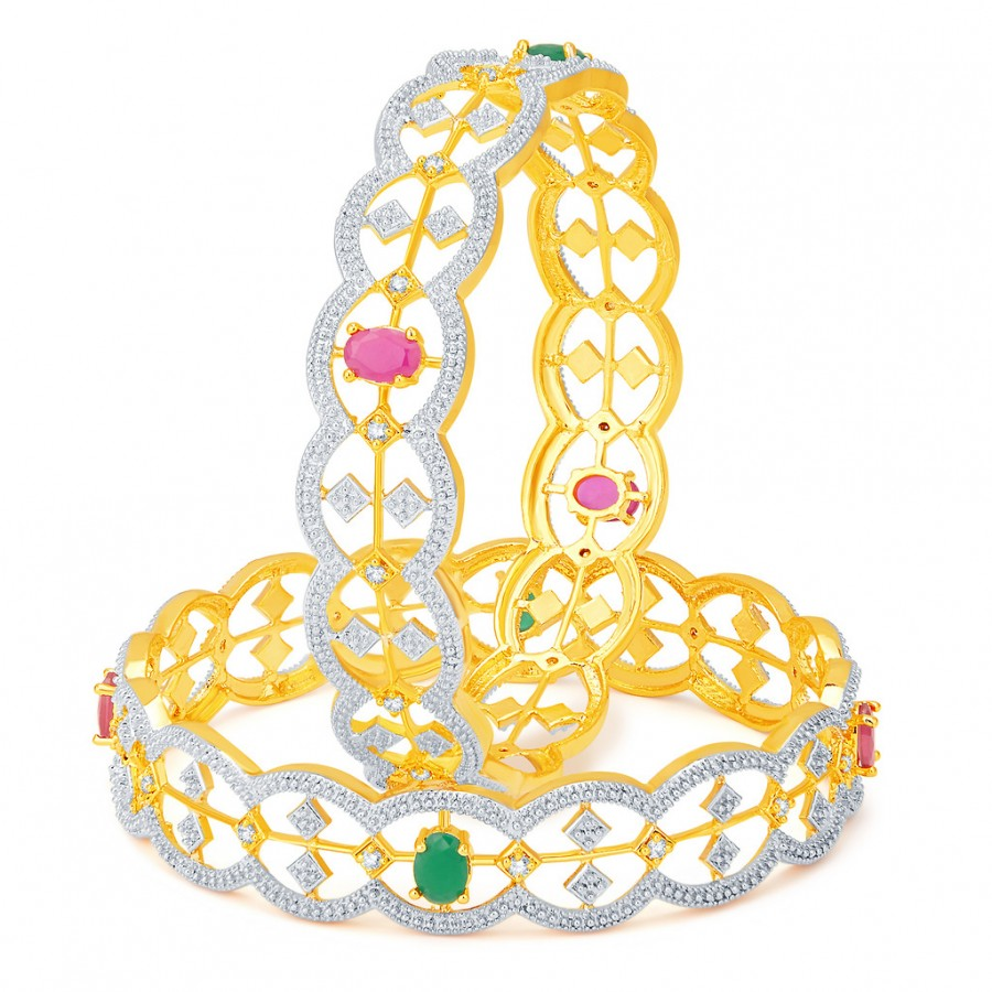 Buy Pissara Wavy Gold and Rhodium Plated CZ Bangles Online