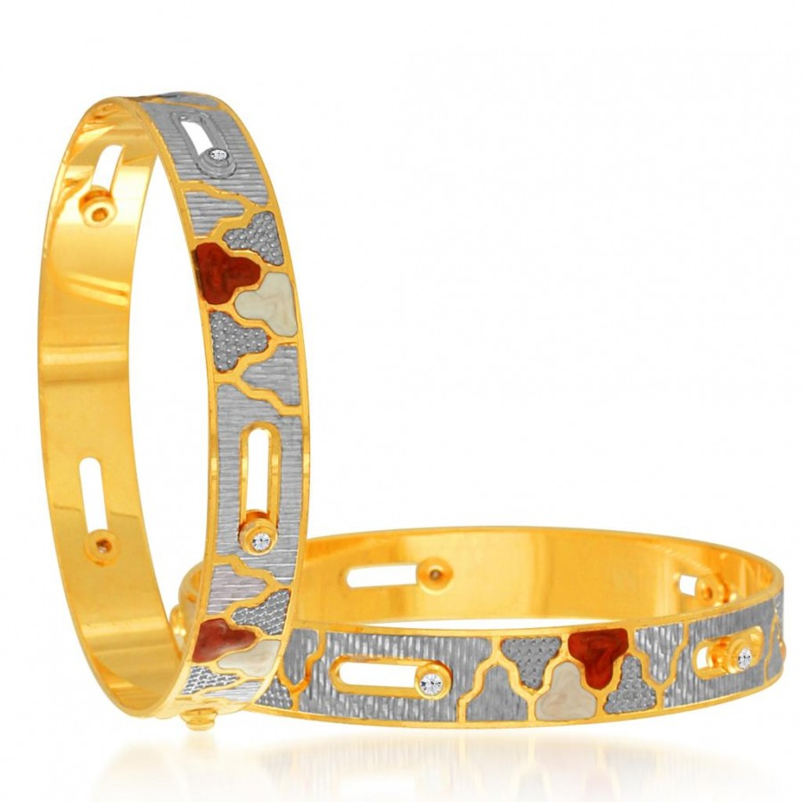 Buy Sukkhi Dazzling Gold and Rhodium Plated Dancing Bangles for Women Online
