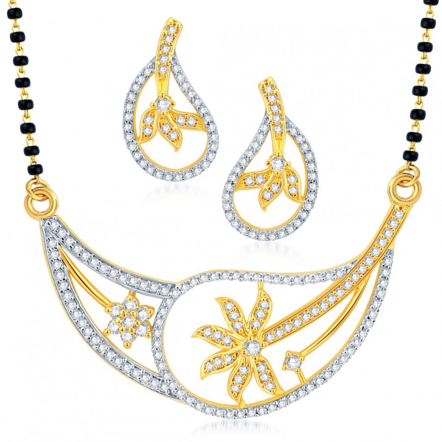 Buy Pissara Resplendent Gold and Rhodium Plated CZ Mangalsutra Set Online