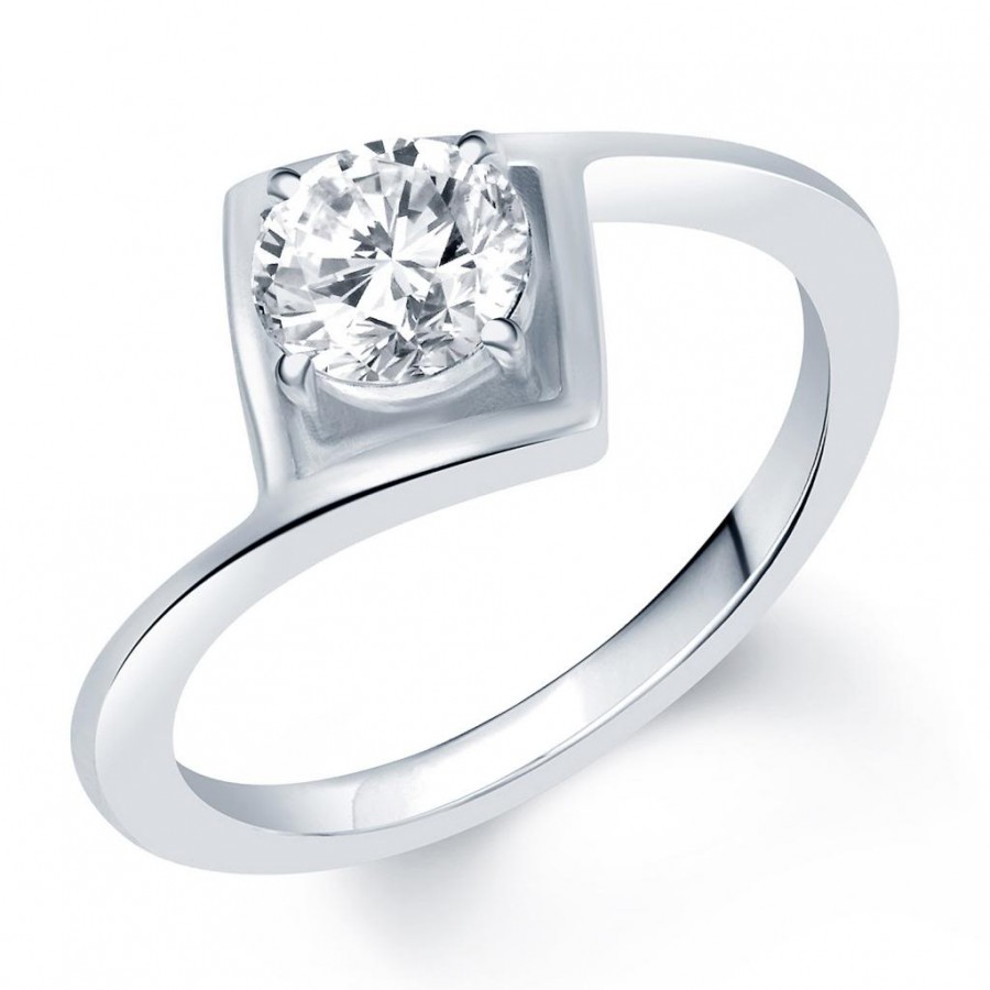 Buy Pissara Graceful Rhodium Plated Solitaire CZ Ring Online