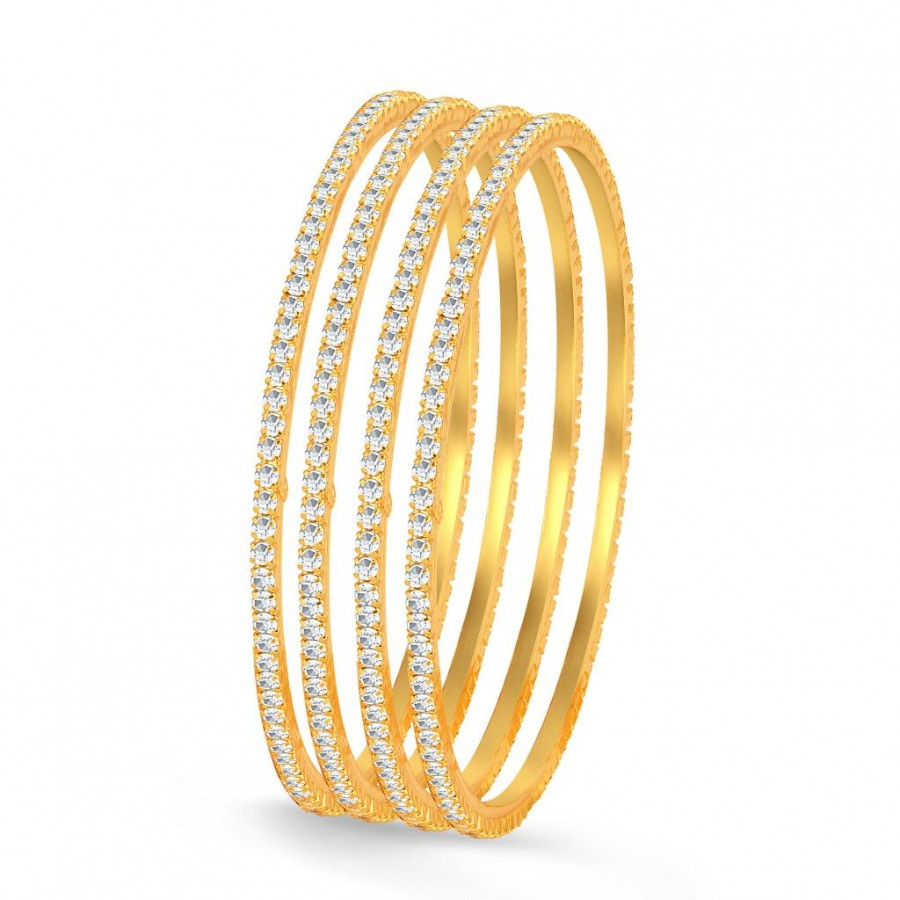 Buy Sukkhi Classy Gold Plated Set OF 4 Australian Diamond Single Line Bangle Online