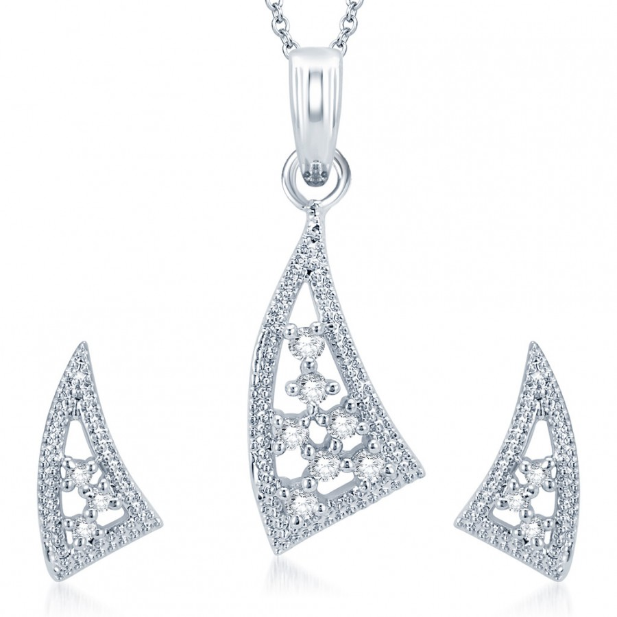Buy Pissara Sleek Rhodium Plated CZ Pendant Set Online