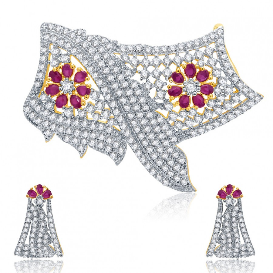 Buy Pissara Ornate Gold And Rhodium Plated Ruby CZ Mangalasutra Set For Women Online