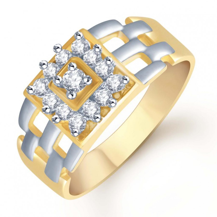 Buy Pissara Gold and Rhodium Plated CZ Ring for Men(105GRK600) Online
