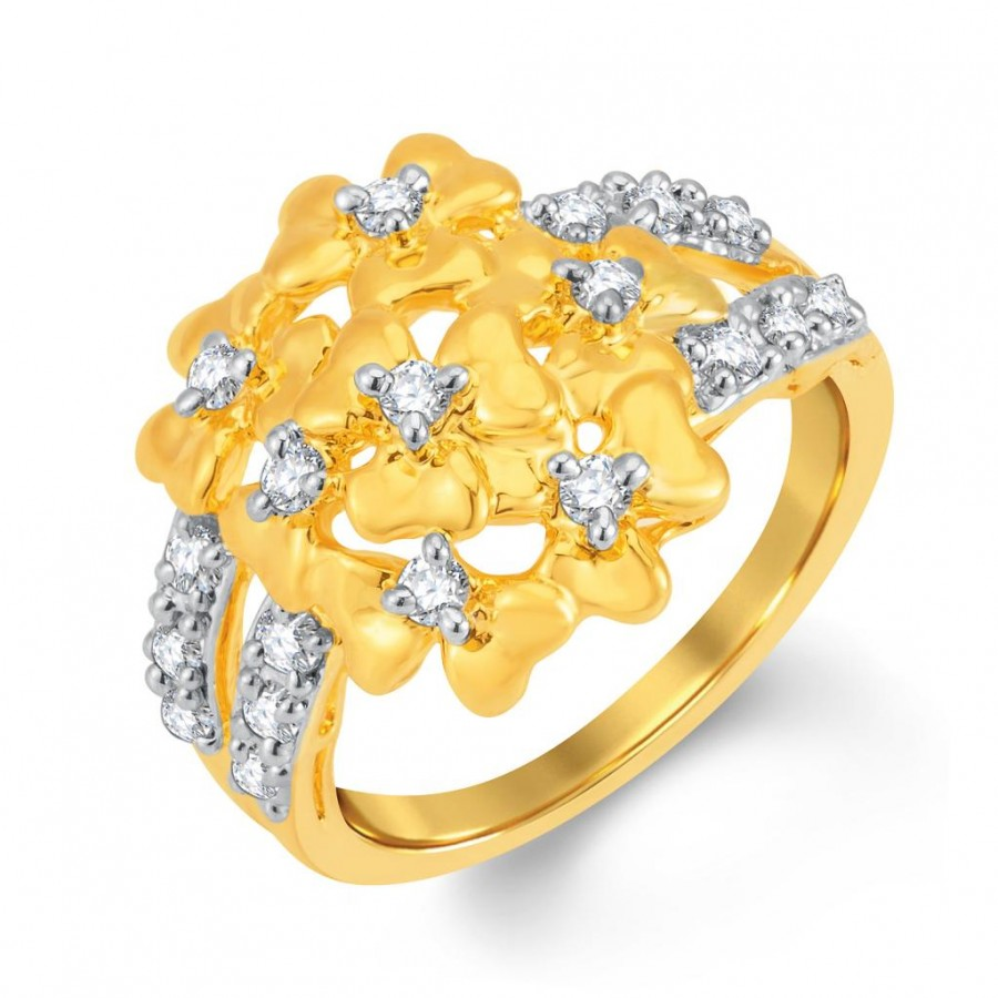 Buy Pissara Glistening Gold and Rhodium Plated Cubic Zirconia Ring Online