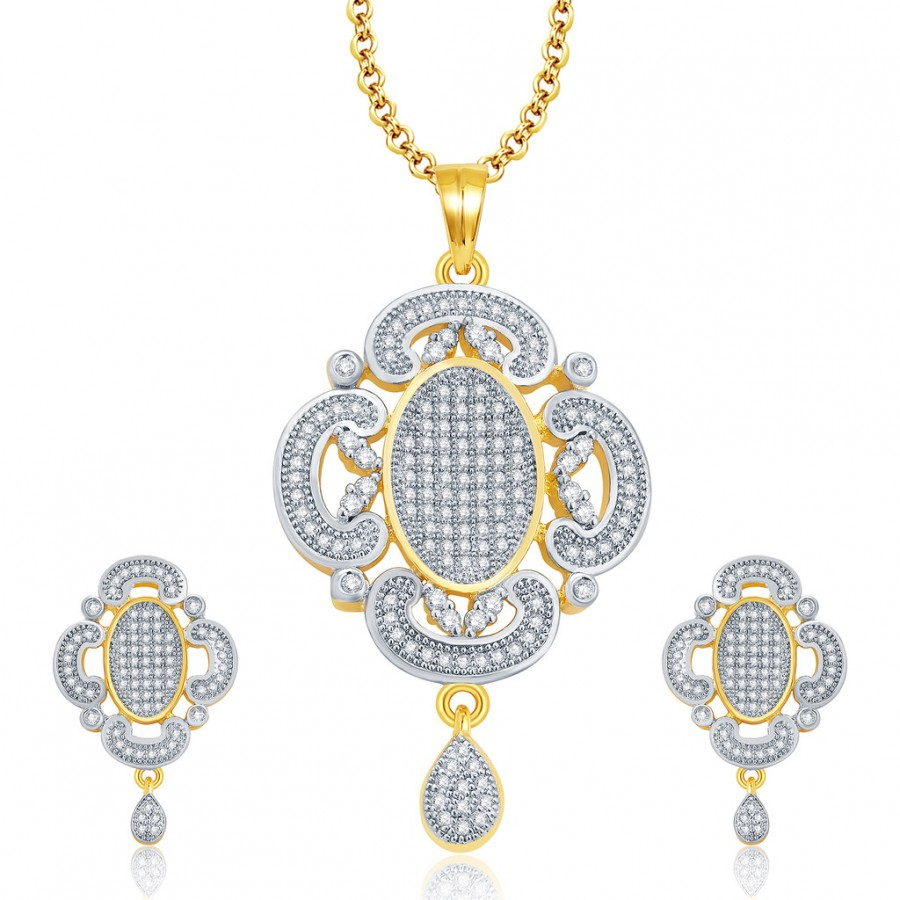 Buy Pissara Spellbound Gold And Rhodium Plated CZ Pendant Set For Women Online