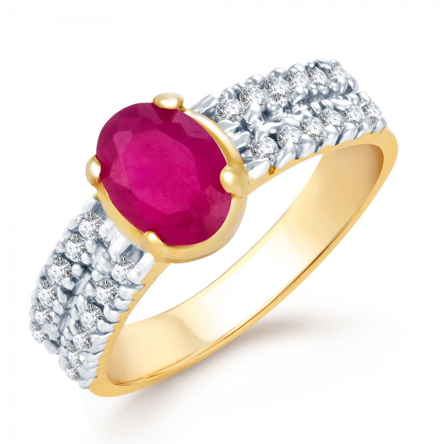 Buy Pissara Fascinating Gold and Rhodium Plated Ruby CZ Ring Online