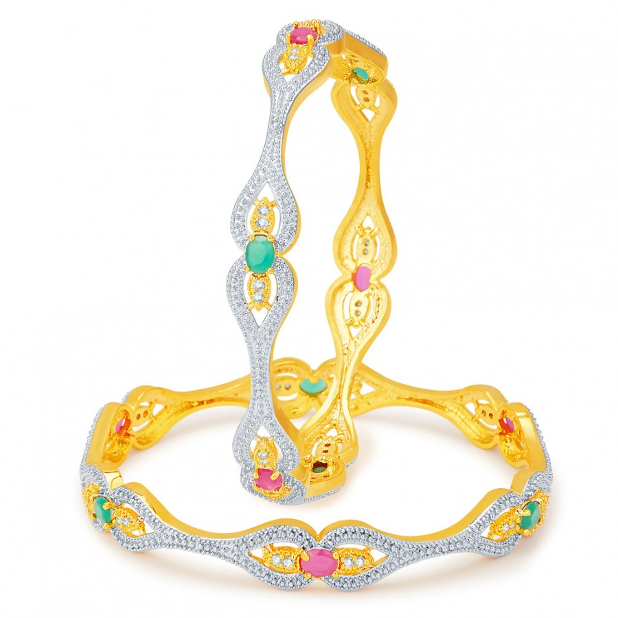Buy Pissara Blossomy Gold and Rhodium Plated CZ Bangles Online