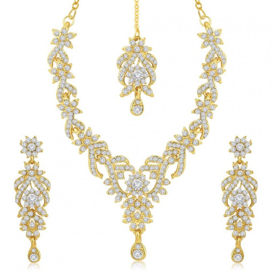 Buy Sukkhi Trendy Gold Plated Australian Diamond Stone Studded Necklace Set Online